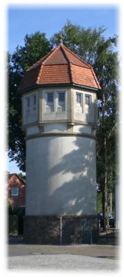 Bild des historischen Wasserturmes in Remmels, Kreis Rendsburg-Eckernförde